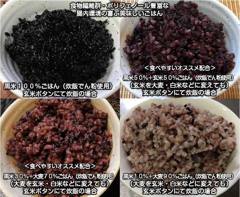 黒米と白米、玄米、大麦ごはん、炊飯でん粉使用、腸内環境喜ぶオススメ配合
