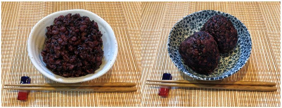 腸内環境喜ぶ栄養満点 雑穀(黒米、押麦)100%ごはん、おむすび
