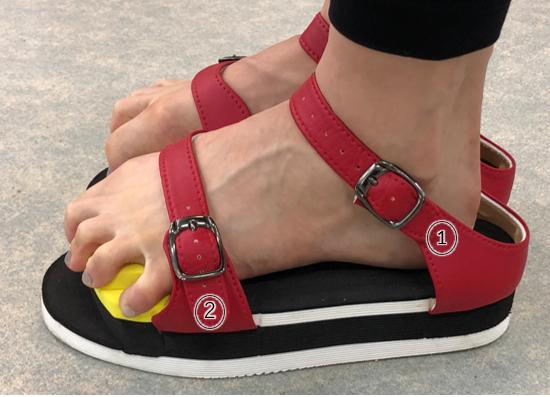 足趾把持力(足指握力)強化トレーニングサンダル「ワシーガトウズ」装着方法