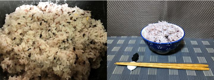 炊飯が終了したら、少しジャーで蒸らしてからほぐします。 レジクロごはん/ライスの完成です。