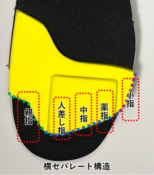 ワシーガトウズにおける足指のかかる先端黄色部についての特徴